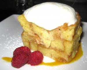 Lemon polenta pudding cake with lemon sabayon