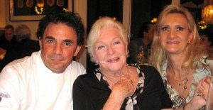 French actress Line Renaud with chef Josiah Citrin and Sophie Gayot