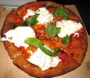 tomatobasilburratacheesepizzetta 300x260 Pizzetta Napoletana with tomato, basil and burrata cheese