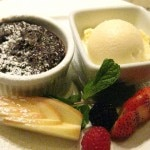Warm chocolate cake with vanilla ice cream
