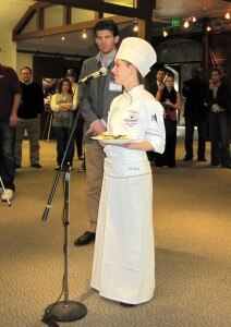 Laura Torresin presenting her dish to the judges