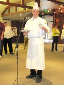 6jonathanlynch1 225x300 Johnathan Lynch presenting his dish to the judges