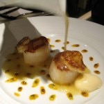Diver scallops with vanilla, passion fruit & Sauvignon Blanc