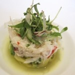 Dungeness crab with avocado, soy-ginger emulsion and micro cilantro