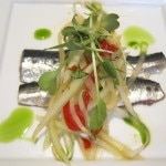 Green papaya salad with pomelo and balsamic marinated fresh San Pedro sardines