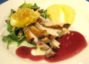 Brian Schreiber's dish: my rating 8/10. Red wine chicken under a brick with parsnip polenta, warm wild mushroom and arugula salad with truffled egg and red wine reduction