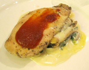 Johnathan Lynch's dish: my rating 5/10. Poached chicken with creole sauce, creamed spinach & mushrooms breaded, fried egg