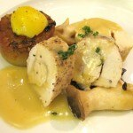Luis Young's dish: my rating 7/10. Chicken breast roulade, herb-scented potatoes, sautéed wild mushrooms, organic soft boiled egg and thyme-lemon sauce