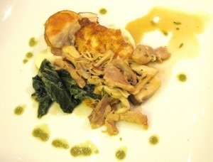 Amanda Digges' dish: my rating 6/10. Chicken française with mushroom ragu, potato and parsnip purée, and sautéed swiss chard