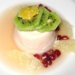 Pomegranate panacotta in citrus soup