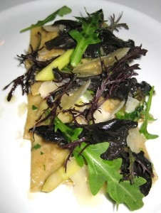 pasta 226x300 Porcini mushroom ravioli with wild mushrooms, parmesan broth and Italian parsley