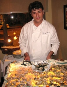 Christophe Happillon getting the oyster table ready