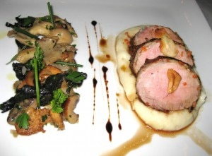 pork 300x221 Prime pork tenderloin crepinette with wild mushrooms, roasted garlic, potato purée and roasted garlic jus