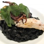 Zinfandel and squid ink risotto with char grilled fresh California calamari