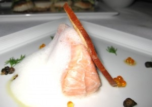 salmon 300x212 Slow roasted Tasmanian salmon with hedgehog mushrooms, pearl onions and smoked white bean puree
