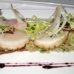Pan-seared day boat scallops with honey date purée, quinoa, bacon tuile, frisee & radish salad and Sangiovese gastrique