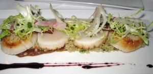 scallops 300x146 Pan seared day boat scallops with honey date purée, quinoa, bacon tuile, frisee & radish salad and Sangiovese gastrique