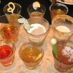 The three rounds (for top to bottom): The Classic, Sidecar; The Theme, made with Bourbon; Freestyle