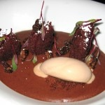 Milk chocolate cream, red velvet, spiced pecans and cocoa nib
