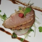 Hamachi Tataki with fermented black beans, pickled daikon radish and fried shallots
