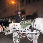 Three horse-drawn carriages provided the transportation for the evening