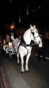 Horse-drawn carriages provided the transportion for the evening of absinthe tastings in downtown Los Angeles