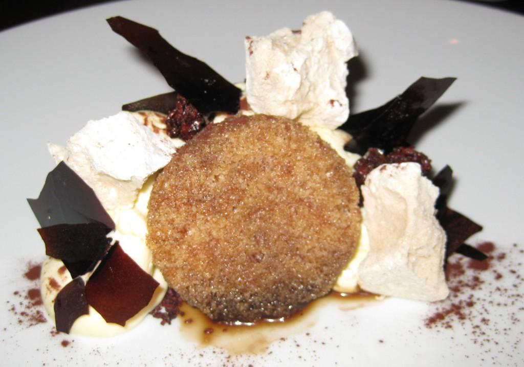 "Mascarpone mousse ""tiramisu"" with chocolate sorbet, milk ..."