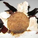 "Mascarpone mousse ""tiramisu"" with chocolate sorbet, milk sponge cake and espresso"