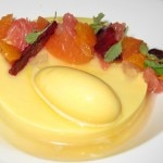 Passion fruit panna cotta with mandarin, yuzu and lemongrass