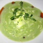English pea soup with Maine lobster, mint pearls, crème fraiche and pea tendrils