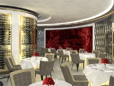 A digital rendering of the dining room of Petrus in London