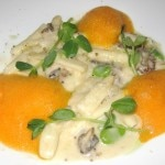 Ricotta Cavatelli with morels, fava beans, carrot essence, pecorino and olive oil