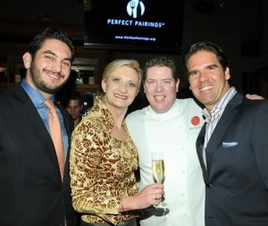 General manager Jacob Shure and chef Steven Fretz of XIV, Perfect Pairings founder Kevin Mark Lodie with Sophie Gayot and a glass of Nicolas Feuillate Champagne