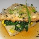 Tapioca-crusted Tai snapper with broccoli rabe and white soy vinaigrette