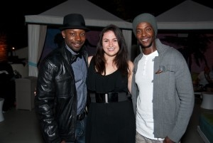 "Nelsan Ellis of ""True Blood"" and Edi Gathegi of ""The Twilight Saga: New Moon"" with GAYOT's Cara Trump"