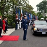 President and First Lady Obama greet Mexican President Calderon and First Lady Zavala