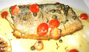 Branzino with tomatoes, capers & lemon