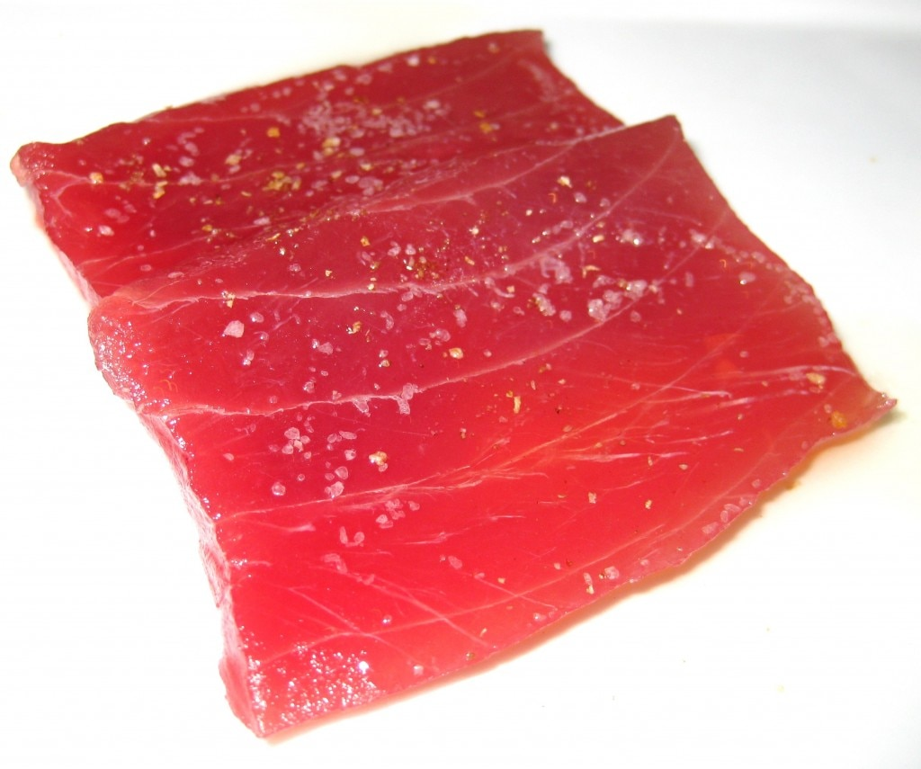 Tonno ahi tuna with ginger oil, coriander seed & lemon salt