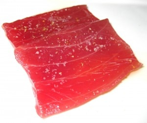 Tonno ahi tuna with ginger oil, coriander seed & lemon salt