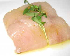 Ricciola yellowtail with star anise oil & orange sea salt