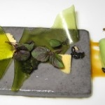 Black sesame gelée with passion fruit caramel, dehydrated shiso and shiso ice cream
