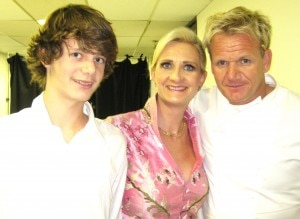 Chef Gordon Ramsay with Sophie Gayot and Alexandre, her son