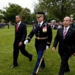 President Obama and President Calderon with the Commander of Troops on the South Lawn of the White House