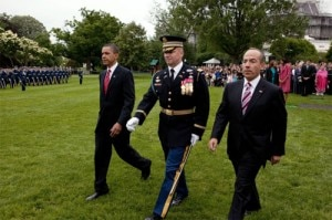 obamaandcalderon 300x199 President Obama and President Calderon with the Commander of Troops on the South Lawn of the White House
