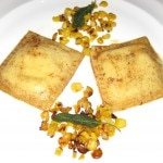 Ravioli with fresh corn, marscapone, goat cheese, fresh thyme & parmesan reggiano