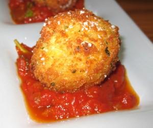 saffronrisotto 300x252 Suppli Al Telefono saffron risotto croquettes, mozzarella di bufala & tomato sugo