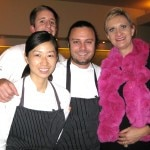 Chef de cuisine Kuniko Yagi, pastry chef Ramon Perez, chef David Myers with Sophie Gayot