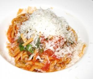 spaghetti 300x256 Spaghetti Alla Chitarra with San Marzano tomato sauce, peperoncino & basil