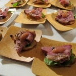 Duck pastrami with pickled rhubard on a pretzel wafer from Spago restaurant
