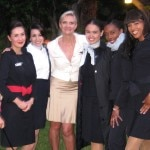 Some of the Air France staff from LAX: Bernadette Goeller, Perla Muniz, Ryma Tifrit, Farah Vega and Rannise Collar, with Sophie Gayot